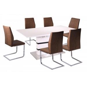 Leona PU Chairs Chrome & Brown