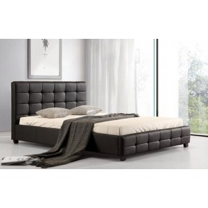 Lattice PU King Size Bed Black