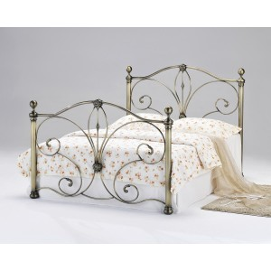Diane Antique Brass Double Bed