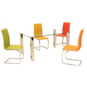 Valita PU Chairs Chrome & Red