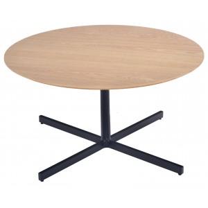 Mayfield Coffee Table Pair Oak Veneer & Black Metal Legs