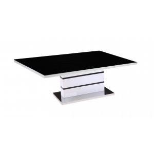 Aldridge High Gloss Coffee Table White with Black Glass Top
