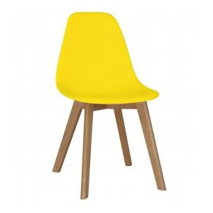 Belgium Plastic (PP) Chairs with Solid Beech Legs Yellow