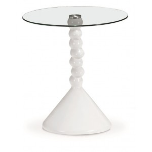 Tyne Glass Lamp Table White