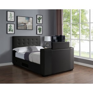 Marbella TV Bed PVC Double Bed Black