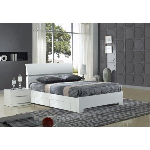 Widney White High Gloss Bed...