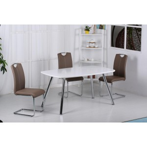 Vera PU Chairs Chrome & Brown