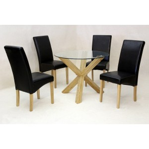 Saturn Small Solid Oak Dining Table Glass 950mm Round